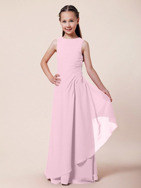 A-Line / Sheath / Column Bateau Neck Floor Length Chiffon Junior Bridesmaid Dress With Beading / Side Draping / Spring / Summer / Fall / Winter / Wedding Party_6