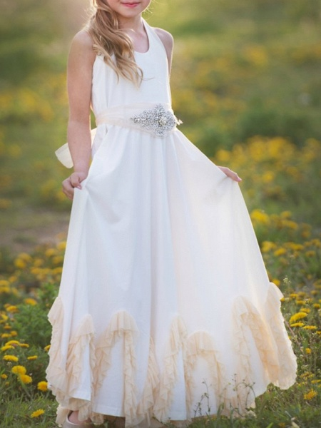 A-Line Knee Length Wedding / Party Flower Girl Dresses - Nylon Half Sleeve Jewel Neck With Sash / Ribbon / Appliques_2