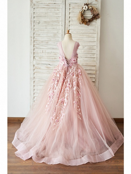 Ball Gown Floor Length Wedding / Birthday Flower Girl Dresses - Lace / Tulle Sleeveless Jewel Neck With Lace / Pearls / Flower_2