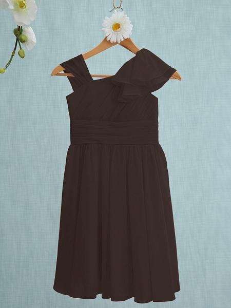 Sheath / Column Straps Knee Length Chiffon Junior Bridesmaid Dress With Ruffles / Side Draping / Natural_23