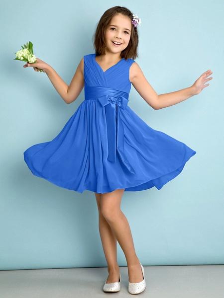 A-Line V Neck Knee Length Chiffon Junior Bridesmaid Dress With Bow(S) / Criss Cross / Natural_32
