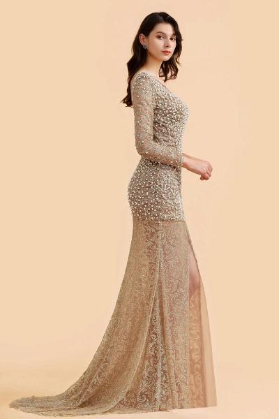 Illusion Neck Beads Champange Pearls High Split Prom Dress_4