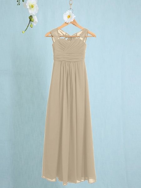 Sheath / Column Straps Ankle Length Chiffon Junior Bridesmaid Dress With Ruched / Natural_18