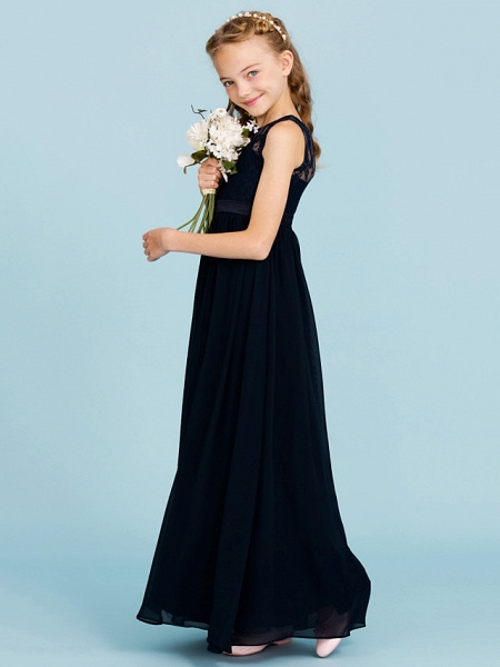 Princess / A-Line Crew Neck Floor Length Chiffon / Lace Junior Bridesmaid Dress With Sash / Ribbon / Pleats / Wedding Party / Open Back / See Through_3