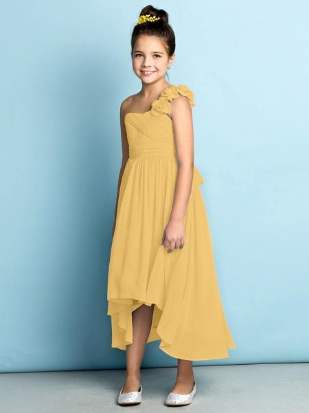 A-Line One Shoulder Asymmetrical Chiffon Junior Bridesmaid Dress With Criss Cross / Flower / Natural / Mini Me_25