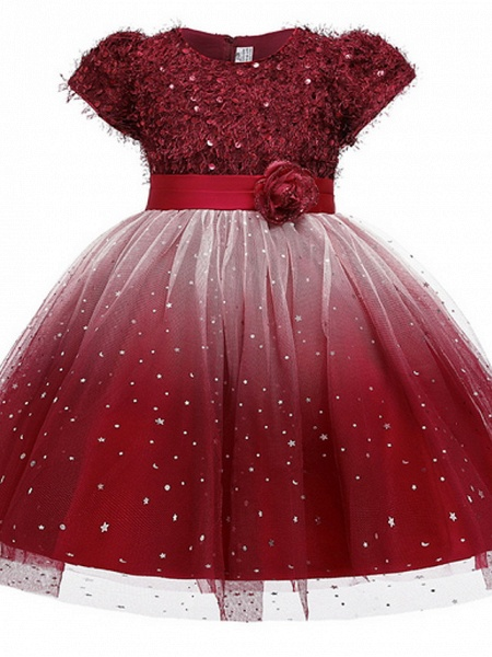 Ball Gown Ankle Length Pageant Flower Girl Dresses - Polyester Short Sleeve Jewel Neck With Beading / Appliques_1