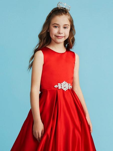 Princess / A-Line Jewel Neck Floor Length Satin Junior Bridesmaid Dress With Bow(S) / Pleats / Crystals_5