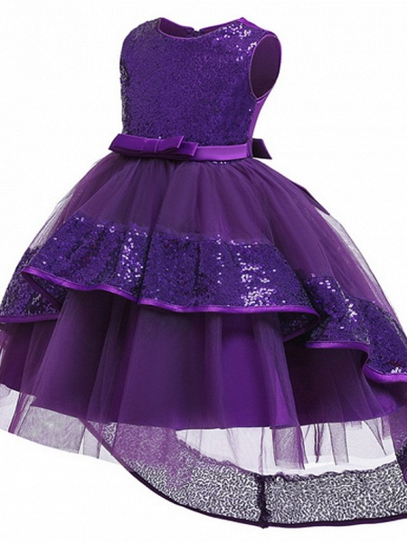 Ball Gown Ankle Length Pageant Flower Girl Dresses - Polyester Sleeveless Jewel Neck With Bow(S) / Appliques_6