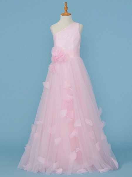 Princess / A-Line One Shoulder Floor Length Tulle Junior Bridesmaid Dress With Pleats / Appliques / Flower_1