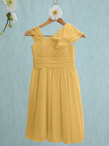 Sheath / Column Straps Knee Length Chiffon Junior Bridesmaid Dress With Ruffles / Side Draping / Natural_21