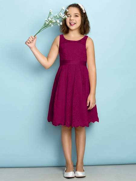 A-Line Scoop Neck Knee Length All Over Floral Lace Junior Bridesmaid Dress With Lace / Natural / Mini Me_40