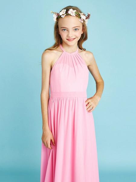 A-Line Halter Neck Floor Length Chiffon Junior Bridesmaid Dress With Sash / Ribbon / Natural_7