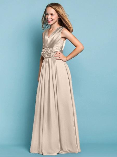 Sheath / Column V Neck Floor Length Chiffon Junior Bridesmaid Dress With Flower / Spring / Summer / Fall / Apple / Hourglass_15