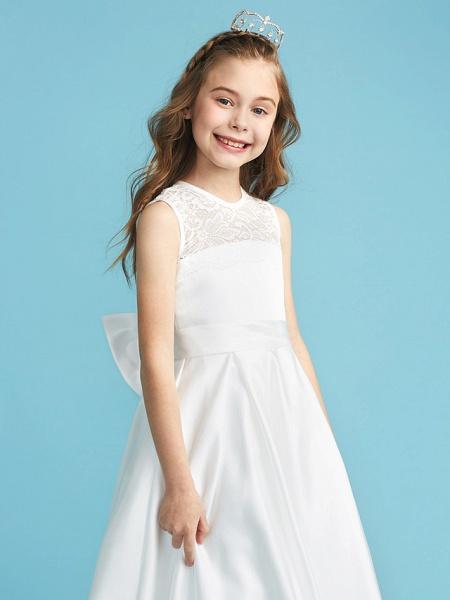 Princess / A-Line Jewel Neck Floor Length Lace / Satin Junior Bridesmaid Dress With Lace / Bow(S) / Pleats_6