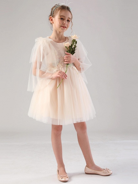 Princess / Ball Gown Royal Length Train / Medium Length Event / Party / Birthday Flower Girl Dresses - Satin / Tulle 3/4 Length Sleeve Jewel Neck With Feathers / Fur / Appliques / Butterfly_6