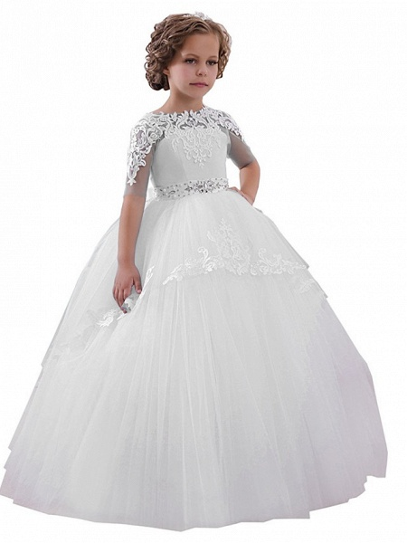 Princess Floor Length Wedding / Birthday / Pageant Flower Girl Dresses - Lace / Tulle Short Sleeve Jewel Neck With Lace / Appliques / Crystals / Rhinestones_3