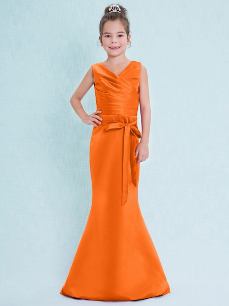 Mermaid / Trumpet V Neck Floor Length Satin Junior Bridesmaid Dress With Criss Cross / Natural_17