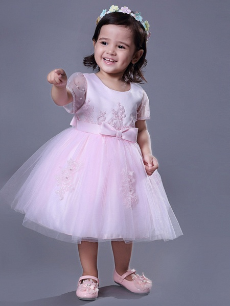 Ball Gown Royal Length Train / Medium Length Wedding / Party Flower Girl Dresses - Satin / Tulle Short Sleeve Jewel Neck With Beading / Appliques / Butterfly_3