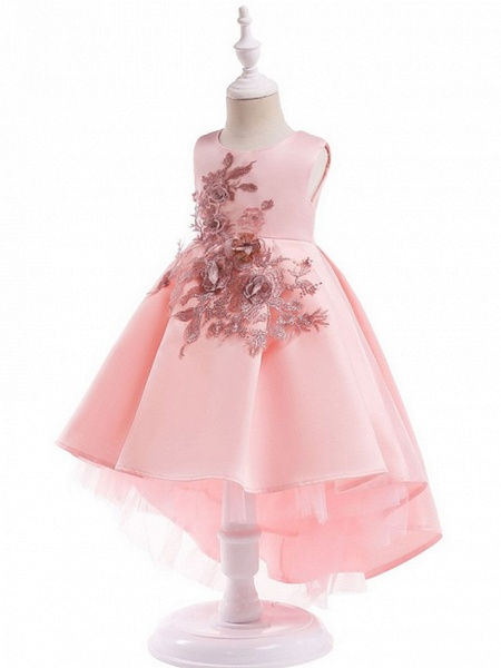 Ball Gown Ankle Length Pageant Flower Girl Dresses - Polyester Sleeveless Jewel Neck With Appliques_4
