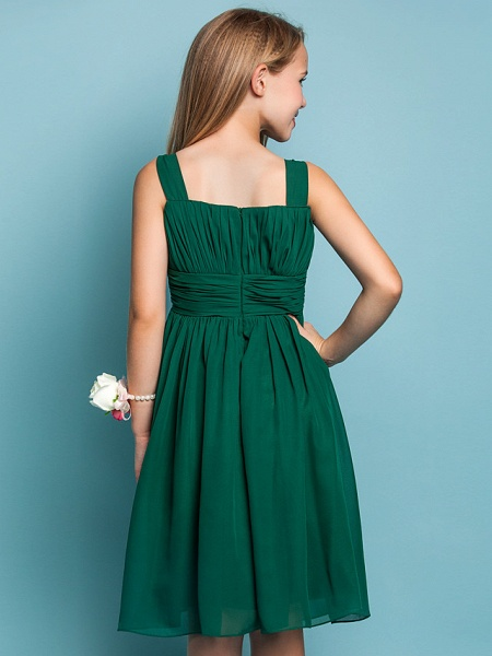 Sheath / Column Straps Knee Length Chiffon Junior Bridesmaid Dress With Ruched / Draping / Spring / Summer / Fall / Apple / Hourglass_6
