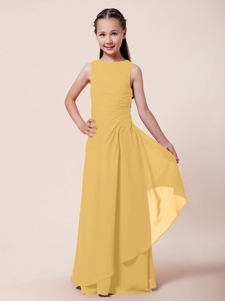 A-Line / Sheath / Column Bateau Neck Floor Length Chiffon Junior Bridesmaid Dress With Beading / Side Draping / Spring / Summer / Fall / Winter / Wedding Party_18