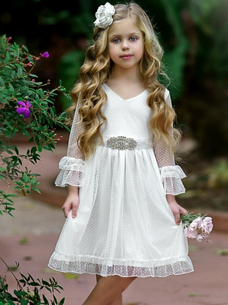 Princess / A-Line Knee Length Wedding / Party Flower Girl Dresses - Tulle Long Sleeve Jewel Neck With Solid_1