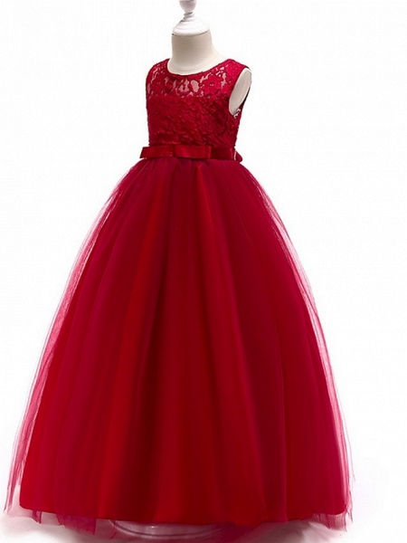 A-Line Round Floor Length Cotton Junior Bridesmaid Dress With Lace / Bow(S)_9