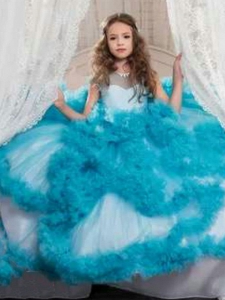 Ball Gown Sweep / Brush Train Wedding / Party Flower Girl Dresses - Tulle Sleeveless Jewel Neck With Solid / Tiered_6