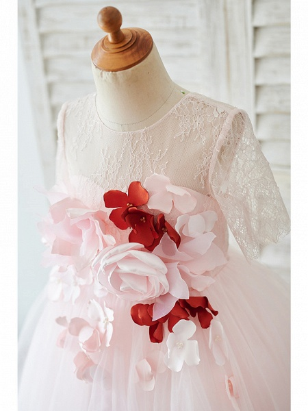 Ball Gown Knee Length Wedding / Birthday Flower Girl Dresses - Lace / Tulle Sleeveless Jewel Neck With Petal / Pearls_3