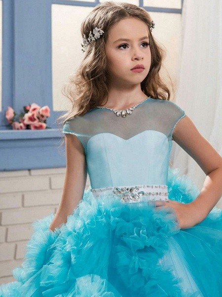Ball Gown Sweep / Brush Train Wedding / Party Flower Girl Dresses - Tulle Sleeveless Jewel Neck With Solid / Tiered_4