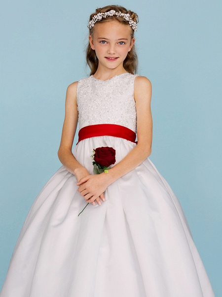 Ball Gown Crew Neck Ankle Length Lace / Satin Junior Bridesmaid Dress With Sash / Ribbon / Bow(S) / Beading / Color Block / Wedding Party_6