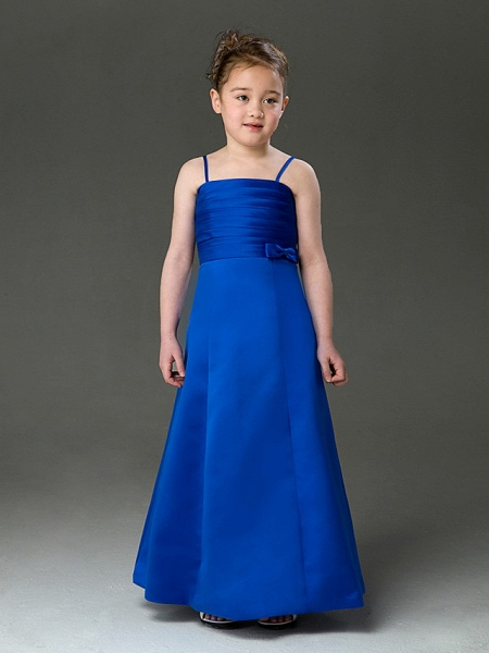Princess / A-Line Floor Length Wedding Party Satin Sleeveless Spaghetti Strap With Bow(S) / Ruched / Spring / Summer / Fall / Winter_1