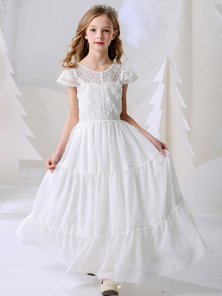 A-Line Floor Length Event / Party / Birthday Flower Girl Dresses - Poly Short Sleeve Jewel Neck With Pleats_1