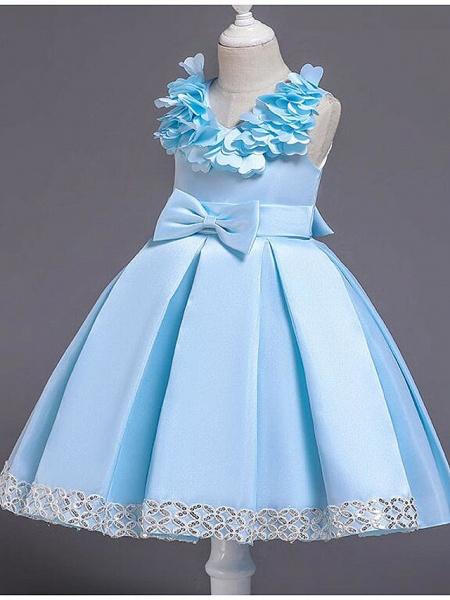Princess Knee Length Wedding / Party / Pageant Flower Girl Dresses - Satin / Cotton Sleeveless Jewel Neck With Petal / Belt / Bow(S)_9