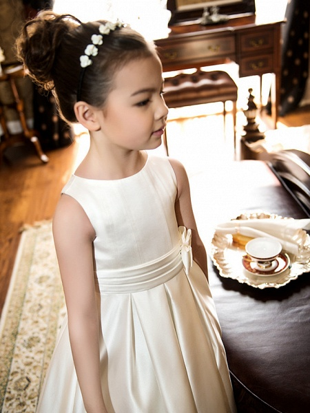 Princess / A-Line Tea Length Wedding / First Communion Flower Girl Dresses - Satin Sleeveless Jewel Neck With Bow(S) / Ruched_7