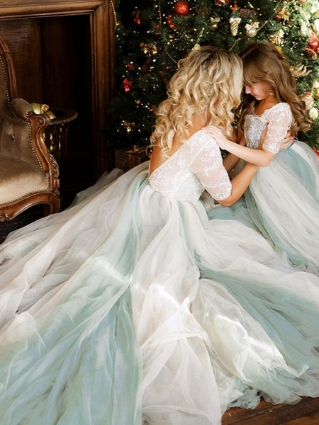 Princess / A-Line Floor Length Wedding / Party Flower Girl Dresses - Lace / Tulle Half Sleeve Jewel Neck With Bows / Paillette_3