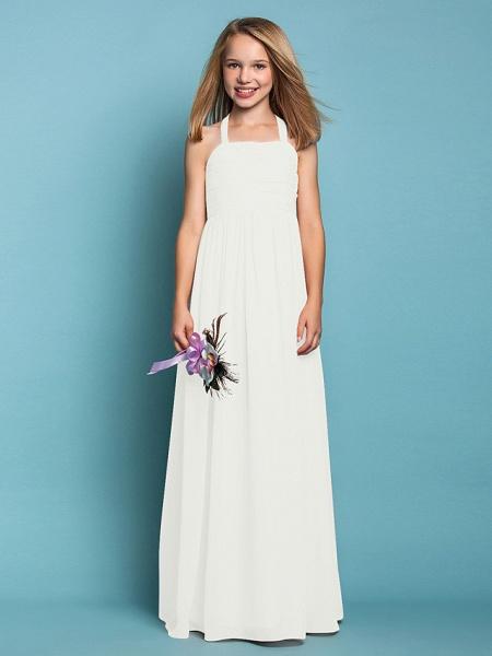 Sheath / Column Halter Neck Floor Length Chiffon Junior Bridesmaid Dress With Ruched / Spring / Summer / Fall / Apple / Hourglass_20