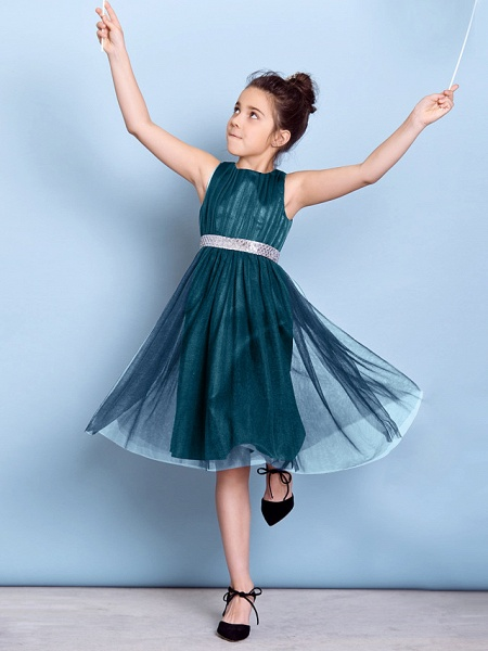 A-Line Jewel Neck Knee Length Tulle Junior Bridesmaid Dress With Sash / Ribbon / Sequin / Draping / Natural_35
