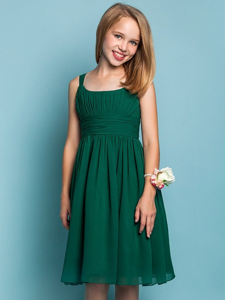 Sheath / Column Straps Knee Length Chiffon Junior Bridesmaid Dress With Ruched / Draping / Spring / Summer / Fall / Apple / Hourglass_5