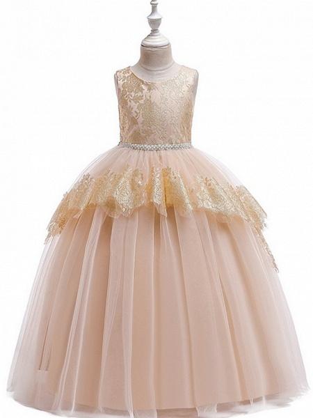 Princess Round Floor Length Cotton Junior Bridesmaid Dress With Bow(S) / Tier / Appliques_1