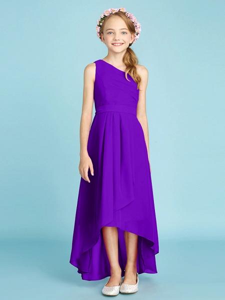 A-Line One Shoulder Asymmetrical Chiffon Junior Bridesmaid Dress With Sash / Ribbon / Bow(S) / Side Draping / Natural_40