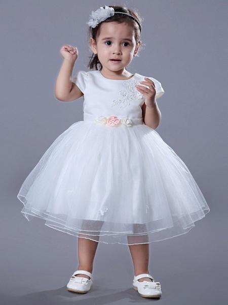 Ball Gown Medium Length Wedding / Birthday Flower Girl Dresses - Satin / Tulle Short Sleeve Jewel Neck With Beading / Embroidery / Flower_1