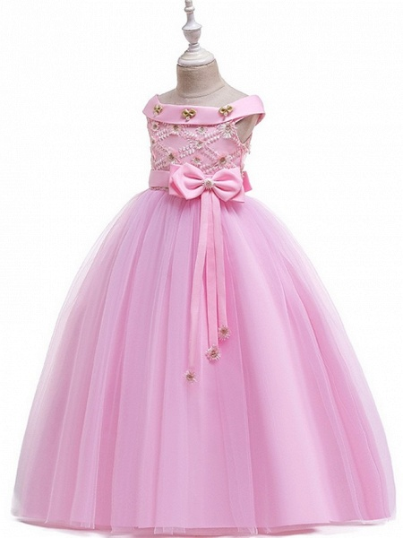 Princess / Ball Gown Floor Length Wedding / Party Flower Girl Dresses - Tulle Short Sleeve Off Shoulder With Sash / Ribbon / Bow(S) / Appliques_8