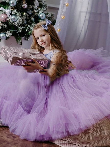 Princess / A-Line Floor Length Party / Birthday Flower Girl Dresses - Tulle Sleeveless Jewel Neck With Lace / Splicing_1