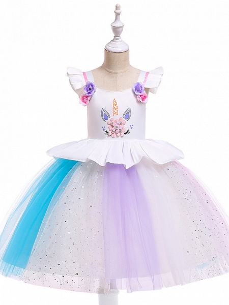 Princess Midi Party / Birthday / Pageant Flower Girl Dresses - Tulle Sleeveless Jewel Neck With Petal / Ruffles / Pattern / Print_7