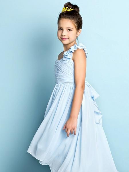 A-Line One Shoulder Asymmetrical Chiffon Junior Bridesmaid Dress With Criss Cross / Flower / Natural / Mini Me_5