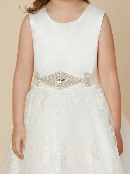 Princess Knee Length Wedding / First Communion Flower Girl Dresses - Lace / Satin Sleeveless Scoop Neck With Sash / Ribbon / Bow(S)_6