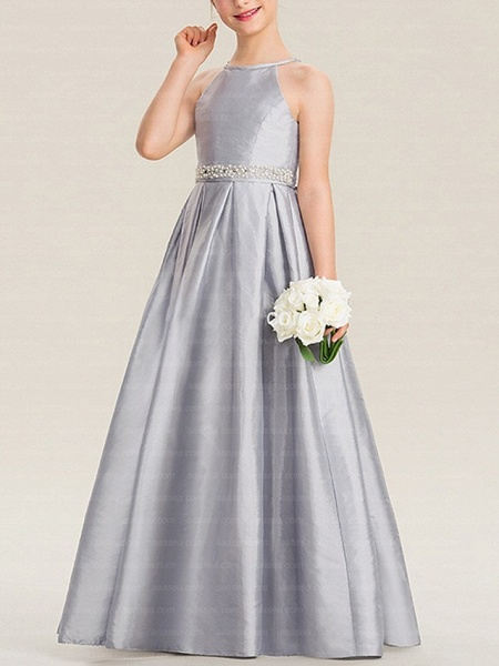 A-Line Floor Length Pageant Flower Girl Dresses - Polyester Sleeveless Halter Neck With Bow(S)_1