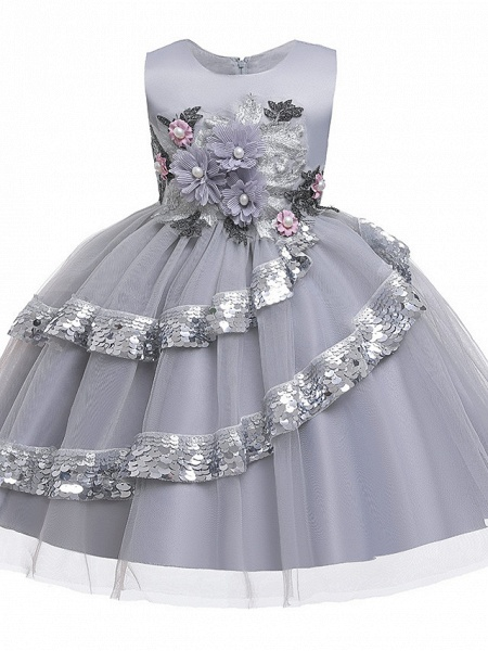 Princess Knee Length Pageant Flower Girl Dresses - Poly / Polyester / Cotton Sleeveless Jewel Neck With Butterfly Design / Beading / Appliques_5