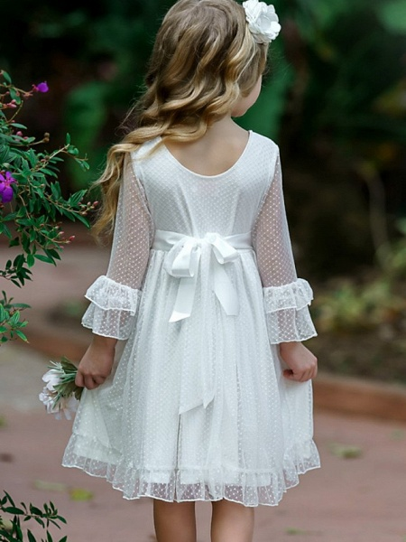 Princess / A-Line Knee Length Wedding / Party Flower Girl Dresses - Tulle Long Sleeve Jewel Neck With Solid_2